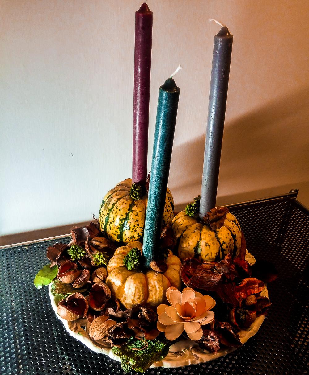 centrotavola autunno zucca pot pourri arancio